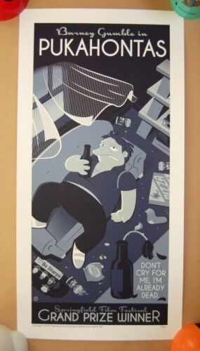 Dave Perillo PUKAHONTAS Screen Print Poster /250 SOLD OUT The Simpsons Barney
