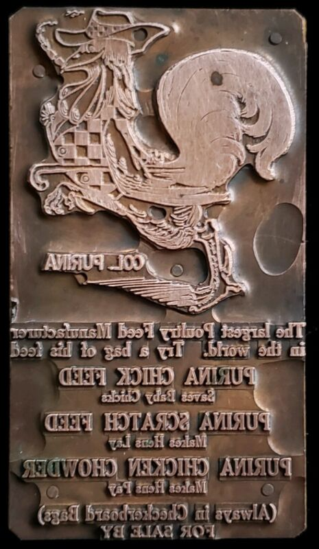 RARE Antique Copper Printers Block Col. Purina Poultry Feeds Advertising 1800