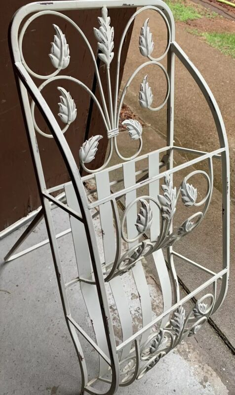 Vintage 2 Tiered White Leaf Magazine Rack With Attached Stand, towel holder