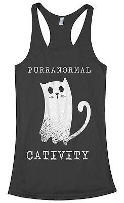 Purranormal Cativity Ghost Cat Women's Racerback Tank Top Halloween](Halloween Cat Women)