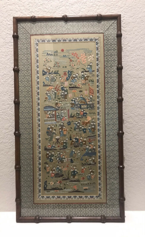 Chinese Silk Embroidery Wall Hanging 100 Children Playing Professionally Framed*