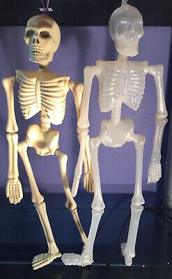 "Lot 2 VTG Plastic BLOW Mold Skeleton 16"" HALLOWEEN Prop DECORATION Glow In Dark"