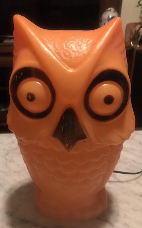 "RARE Vintage Halloween Orange 13"" OWL Blow Mold Light Up Tico #2"