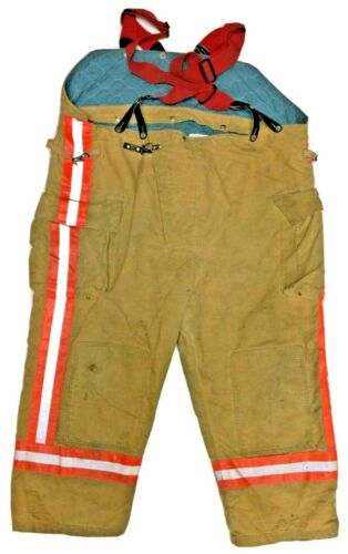 58x27 Quaker Brown Firefighter Turnout Bunker Pants with Suspenders P1260