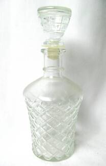 Vintage CUT GLASS WINE DECANTER Round with STOPPER 8x24cm North Plympton West Torrens Area Preview
