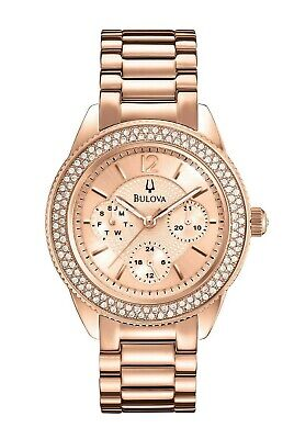 Bulova Women's Quartz Crystal Accents Rose Gold Tone 38mm Wrist Watch 97N100