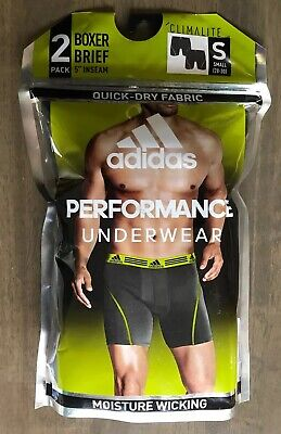 New Adidas Men Climalite Performance Boxer Brief -Black  2-Pack Size S 5""