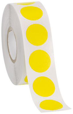 Self Adhesive Labels 34 Dot Circle Stickers Yellow 1000 Labels 1 Roll Blank