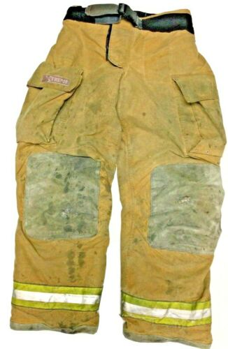 34x34 Globe Gxtreme Brown Firefighter Turnout Pants With Yellow Tape P1225