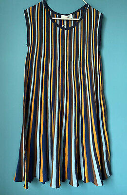 Jucca Cotton Knitted Striped Dress Navy /Orange /Blue /Stretch Knee Length