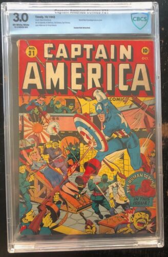 CAPTAIN AMERICA #31  Schomburg bondage WW2 Cover!  CBCS 3.0
