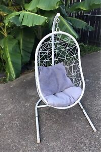 Kids White Metal Hanging Swing Nest Egg Chair Cushion Childs