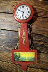 *Antique Gilbert Wooden Banjo Wall Clock Sunset Art Deco Clock Face