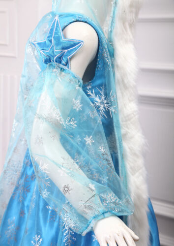 Hooded Cape /& Oversleeves Girls Gift Frozen Elsa Fancy Dress Up Costume Outfit