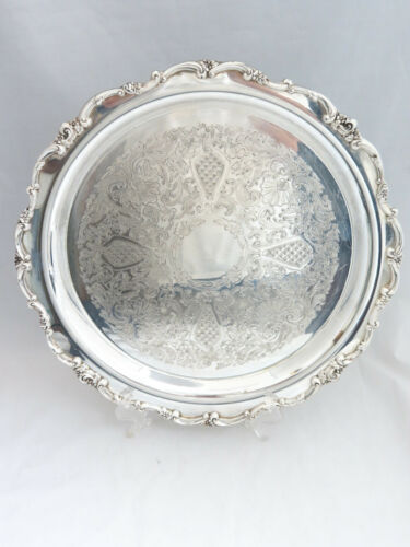 Lunt Large Round Silver Footed Tray/Platter - 15""