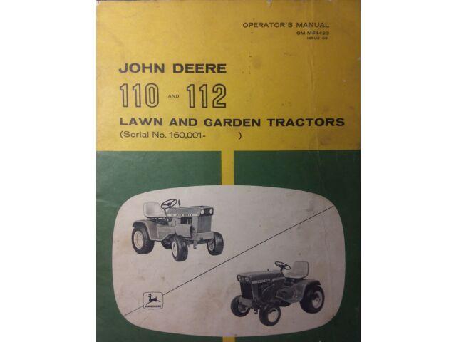 John Deere 110 112 Lawn & Garden Tractor Opera