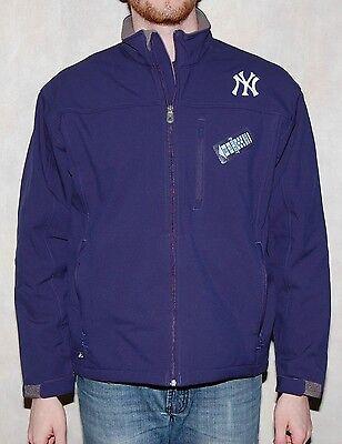 New York Yankees Mens Jacket All Weather Full Zip Softshell Navy   Mlb Majestic