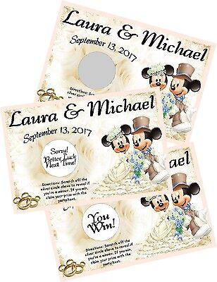 MICKEY AND MINNIE MOUSE WEDDING SCRATCH OFF OFFS GAME CARDS & PARTY FAVORS - Minnie And Mickey Party Supplies