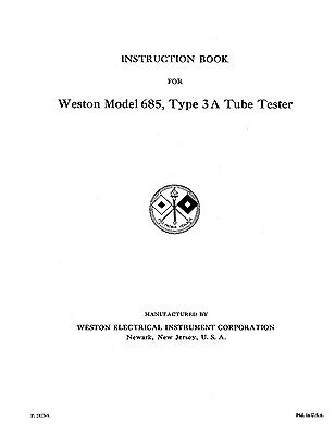 Weston 685 Type 3 And 3a Tube Tester Manual