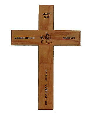 First Communion Cross Solid Oak Personalized Engraved Unique Gift - First Communion Ideas