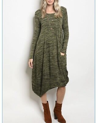 Long Sleeve Scoop Neck Light Slub Knit Tunic Dress, Various Sizes - Scoop Neck Knit Kleid