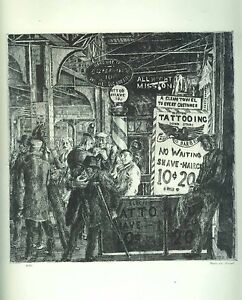 REGINALD MARSH, TATTOO-HAIRCUT-SHAVE 1939 Listed Artist ANTIQUE Art Print