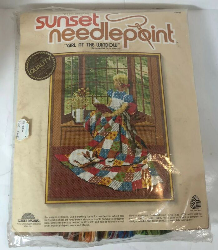 """Sunset Needlepoint Girl At the Window Embroidery Kit #6695 18"""" x 22"""""""
