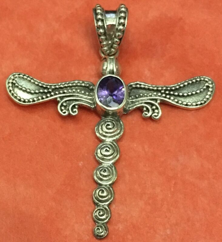 """Sterling 925 Silver DRAGONFLY Purple Amethyst Pendant it is 2"""" tall"""