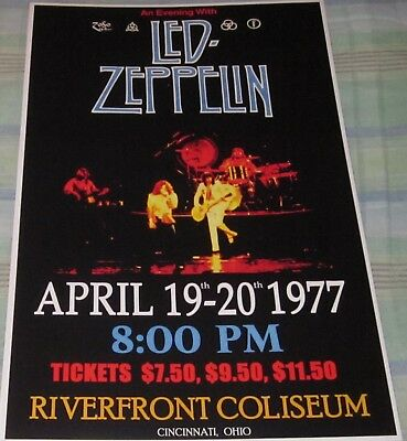 LED ZEPPELIN 1977 RIVERFRONT COLISEUM REPLICA CONCERT POSTER W/PROTECTIVE SLEEVE