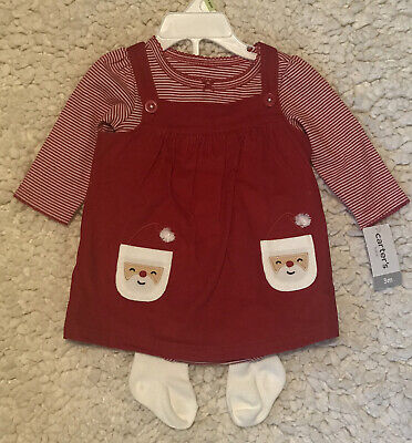 Carters Baby Girl Christmas Santa Jumper Dress Christmas Outfit 3 Months NEW