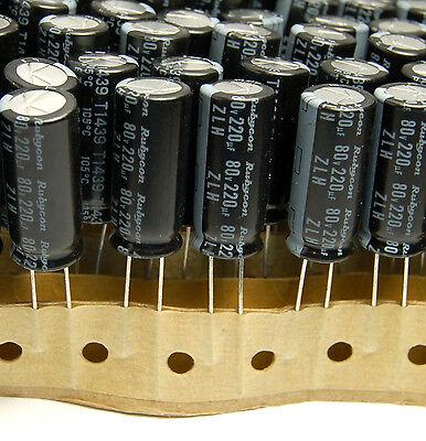 4x 2200UF 16V RUBYCON RADIAL ELECTROLYTIC CAPACITORS 10X24MM ZLH 16v2200uf