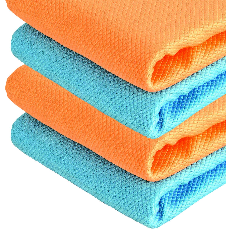4er Mikrofasertuch Set Trockentuch streifenfrei Tuch 40x40 cm blau & orange