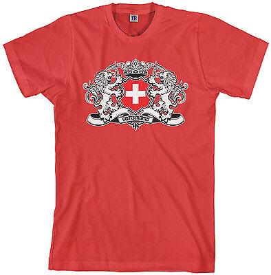 Threadrock Men's Switzerland Lion Crest Flag T-shirt Swiss Shield ()