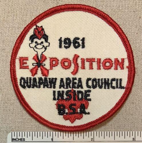 Vintage 1961 QUAPAW AREA COUNCIL Boy Scout Exposition PATCH Inside BSA Camp RE