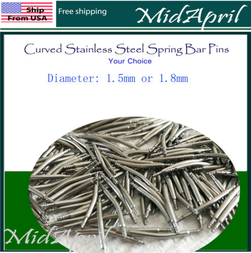 4 pc Curved Watch Spring Bar Watchband -Stainless Steel -Diameter 1.5mm or 1.8mm