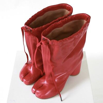 MAISON MARTIN MARGIELA split toe red leather high heel shoes tabi boots 40 NEW for sale  Philadelphia