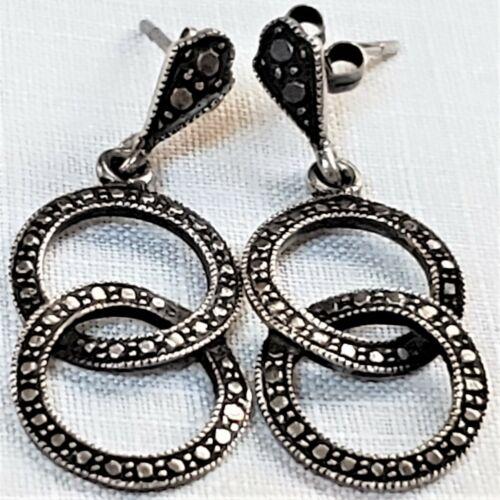 Marcasite pierced earrings dainty interlocking circles in sterling silver 925