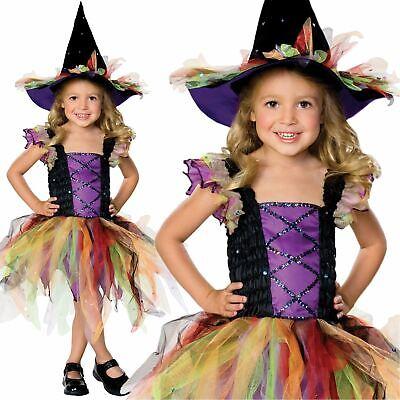 Kids Girls Glitter Witch Fancy Dress Halloween Costume Outfit Cute Magic - Girls Pretty Witch Kostüm