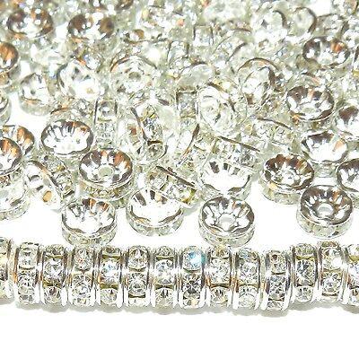 CXL711L2 Crystal Rhinestone 8mm Silver Rondelle Metal Spacer Beads 100/pkg