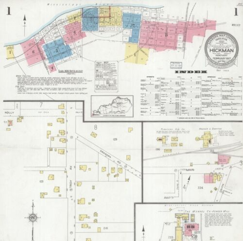 Hickman, Kentucky~Sanborn Map© sheets ~ 36 maps in full color~1886 to 1927