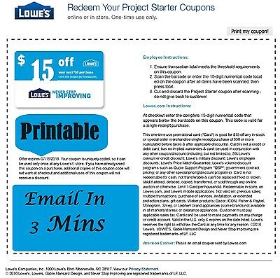 FIVE (5x) Lowes $15 OFF $50 PRINTABLE-Coupons EXP 3/31/17 Super Fast Delivery!-