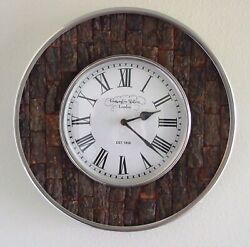 Rustic Kensington Station London 1856 Hanging Wall Clock 13.5 Silver/Tree Bark