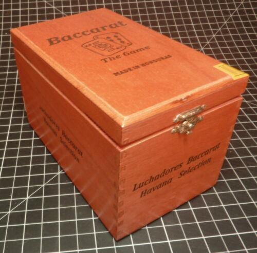 Baccarat Wood Cigar Box w/Metal Clasp & Hinges