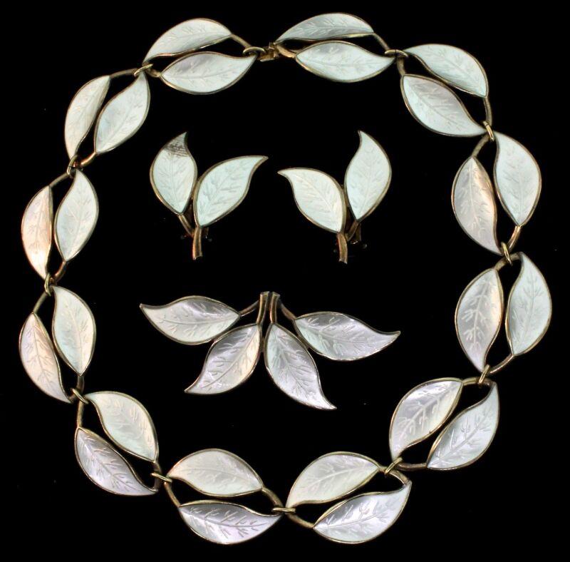 SALE Vtg DAVID ANDERSEN Norway Sterling Enamel Leaf PARURE Necklace Earrings Pin