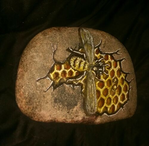 OOAK Hand Painted Honey Bee And Honeycomb, Peeking Out Of A Cracked Rock - $16.99