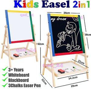 Kids Easel - Wooden 2in1 Blackboard Whiteboard White Drawing Writing Chalk Board