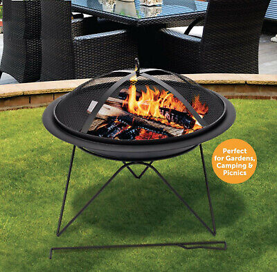 Outdoor Fire Pit Firepit BBQ Summer Garden Round Table Stove Patio Heater 51cm