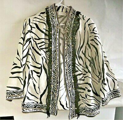 Chicos Linen Jacket Zebra Animal Print Open Front Fringe Sequins Size 2 -