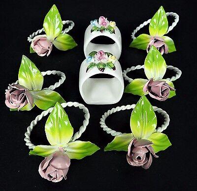 6 Painted Metal Italian Vtg Napkin Rings Rose 2 Porcelain Pintar Handpainted