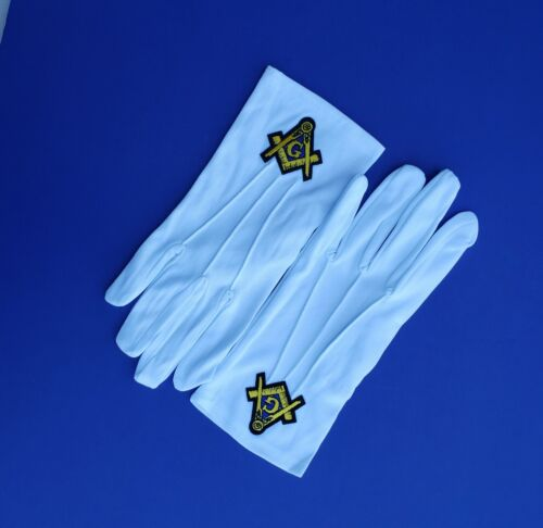 Masonic White Gloves GOLD Embroidered G Logo Square & Compass